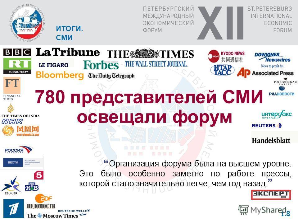 ИТОГИ. БИЗНЕС 910 – российский бизнес в 2,3 раза больше в сравнении с XI ПМЭФ 590 – иностранный бизнес в 1,74 раза больше в сравнении с XI ПМЭФ 1. 7