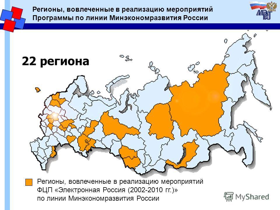 Регионы, вовлеченные в реализацию мероприятий Программы по линии Минэкономразвития России 22 региона Регионы, вовлеченные в реализацию мероприятий ФЦП «Электронная Россия (2002-2010 гг.)» по линии Минэкономразвития России