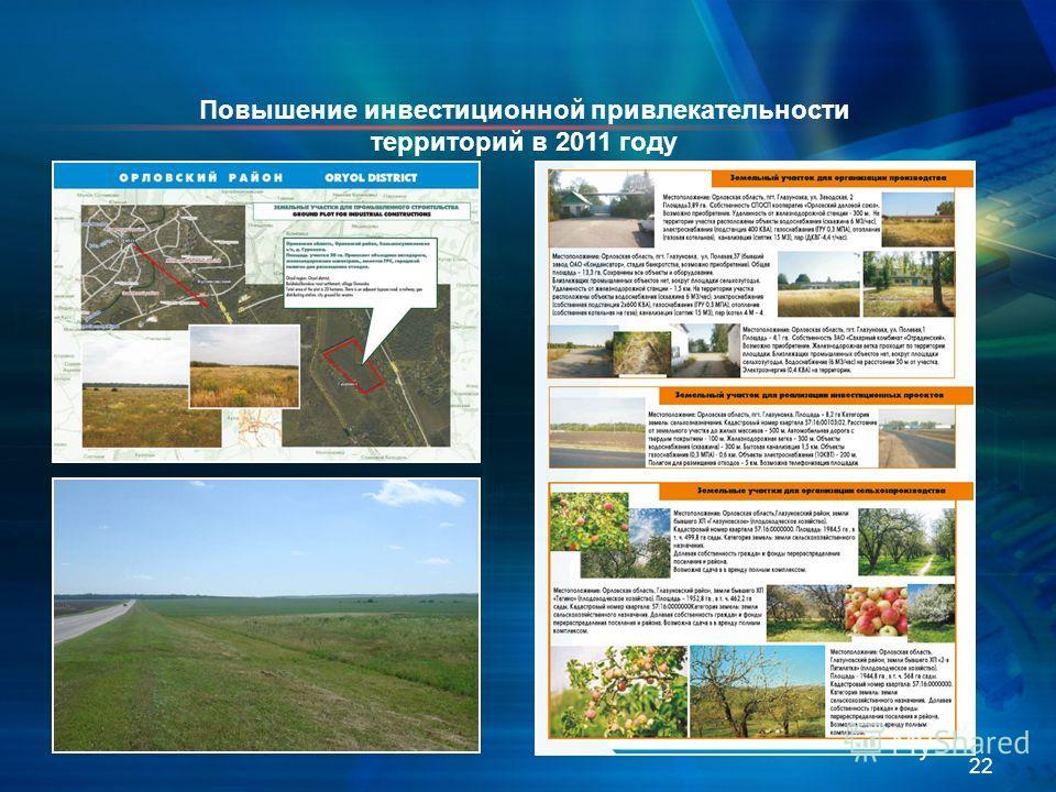 22 Повышение инвестиционной привлекательности территорий в 2011 году