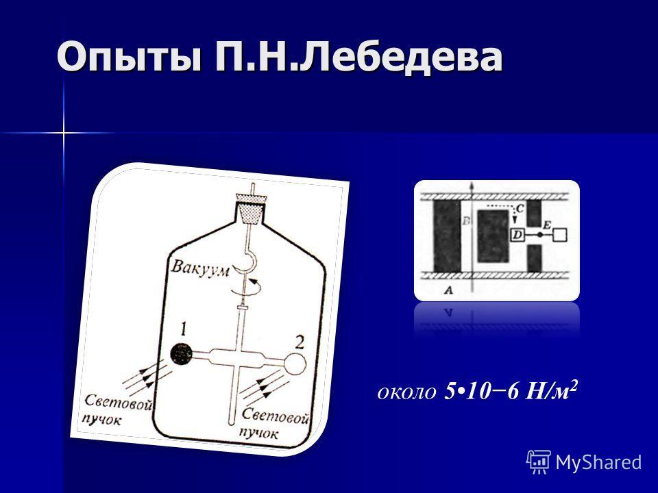 Опыты П.Н.Лебедева около 5106 Н/м 2