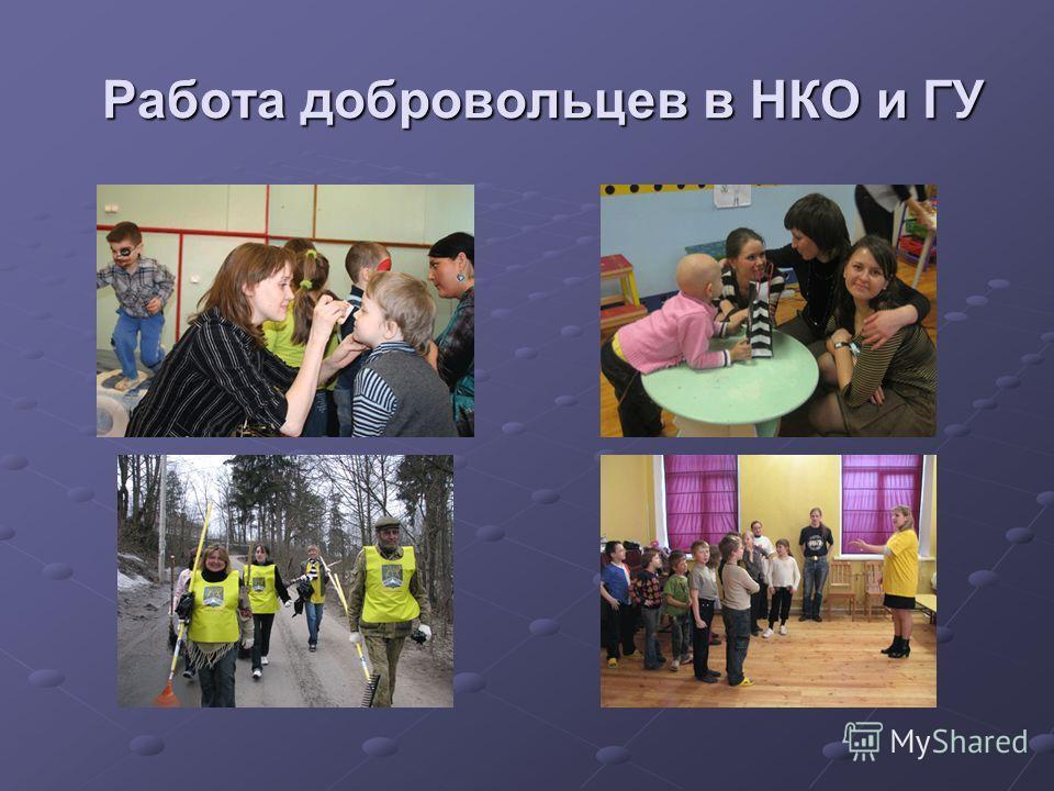 Работа добровольцев в НКО и ГУ