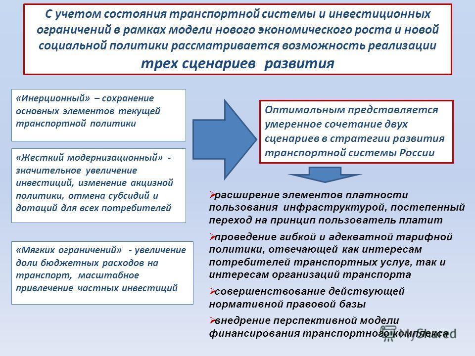 С учетом состояния транспортной системы и инвестиционных ограничений в рамках модели нового экономического роста и новой социальной политики рассматривается возможность реализации трех сценариев развития «Инерционный» – сохранение основных элементов