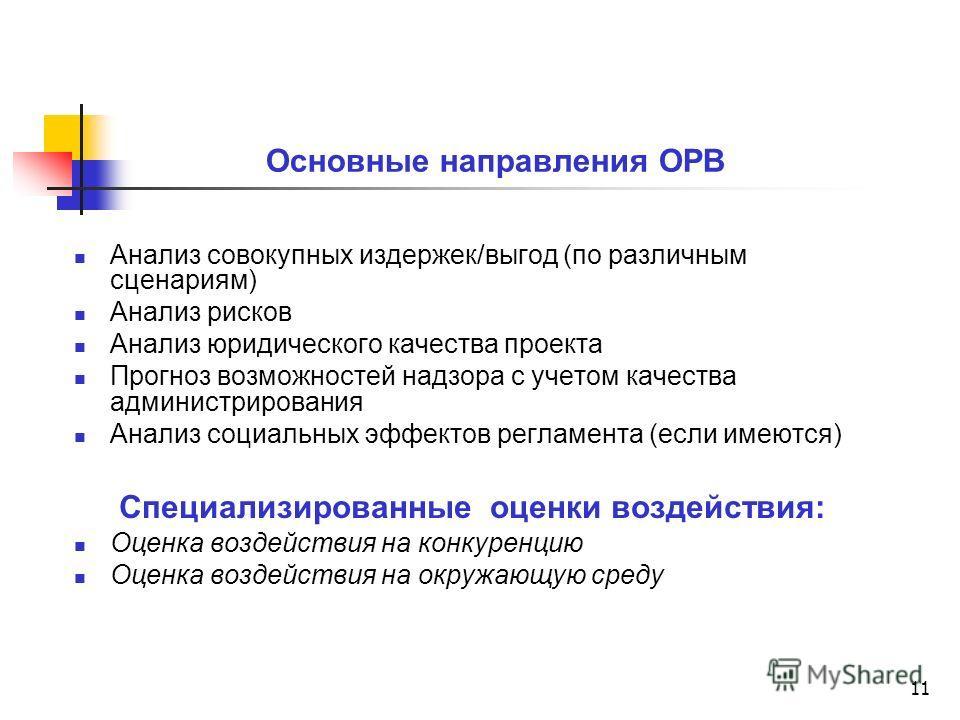 11 Основные направления ОРВ Анализ совокупных издержек/выгод (по различным сценариям) Анализ рисков Анализ юридического качества проекта Прогноз возможностей надзора с учетом качества администрирования Анализ социальных эффектов регламента (если имею