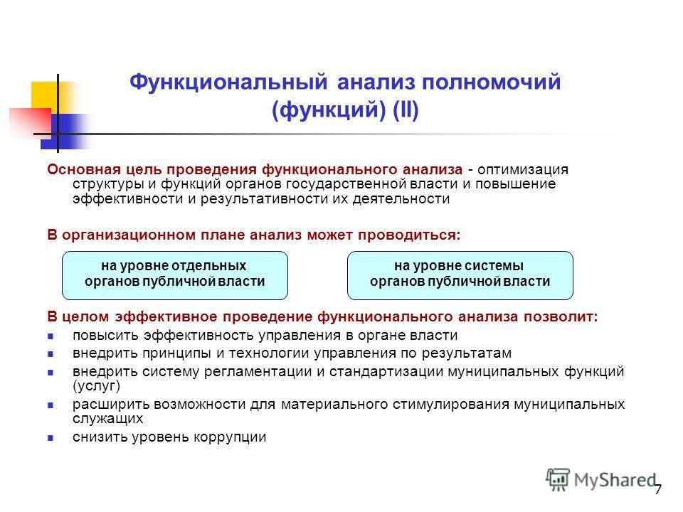 7 Функциональный анализ полномочий (функций) (II) Основная цель проведения функционального анализа - оптимизация структуры и функций органов государственной власти и повышение эффективности и результативности их деятельности В организационном плане а