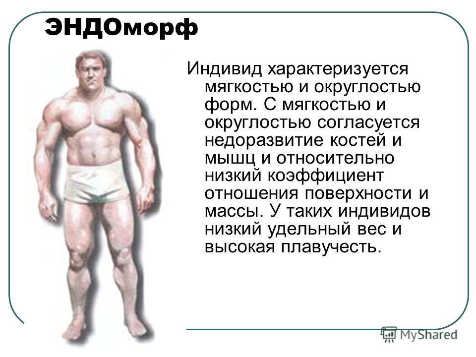 ЭНДОморф Индивид характеризуется мягкостью и округлостью форм. С мягкостью и округлостью согласуется недоразвитие костей и мышц и относительно низкий коэффициент отношения поверхности и массы. У таких индивидов низкий удельный вес и высокая плавучест