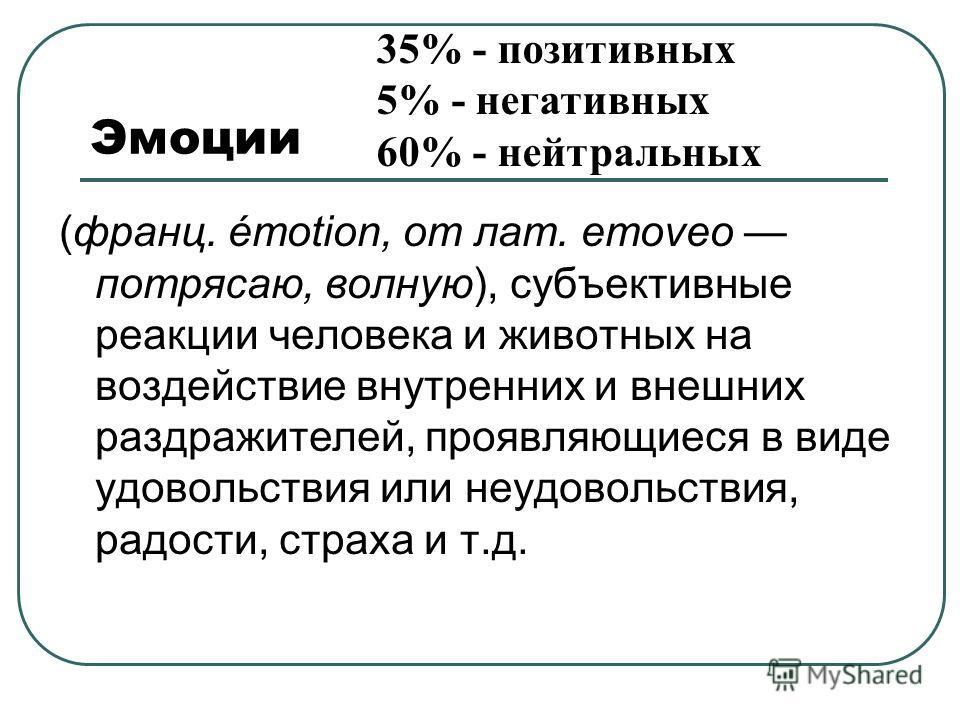 Эмоции 35% - позитивных 5% - негативных 60% - нейтральных (франц. émotion, от лат. emoveo потрясаю, волную), субъективные реакции человека и животных на воздействие внутренних и внешних раздражителей, проявляющиеся в виде удовольствия или неудовольст