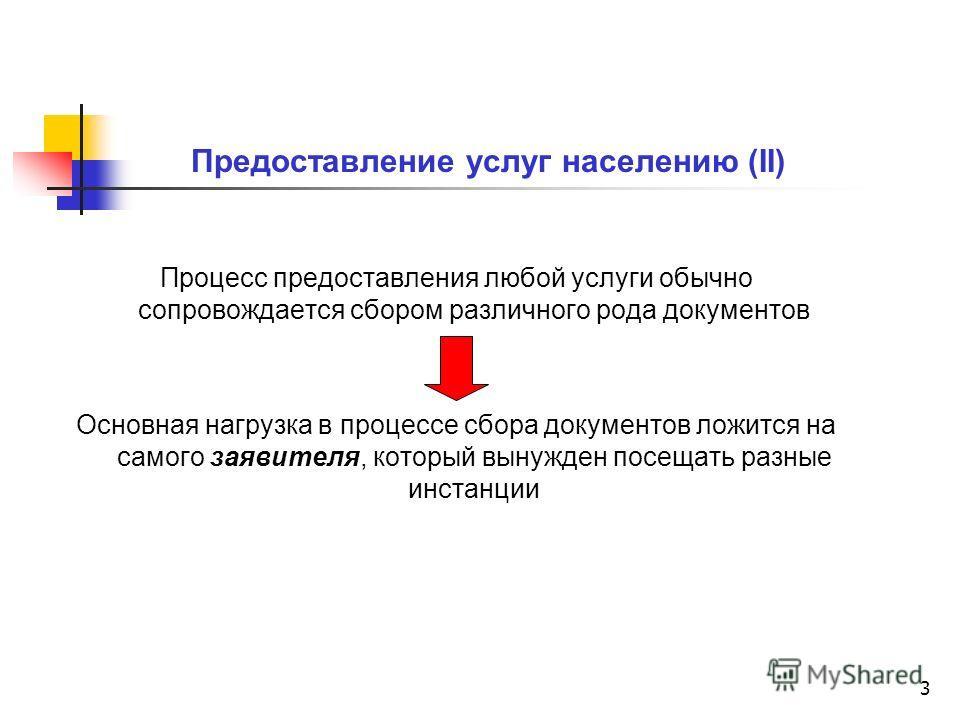 3 Предоставление услуг населению (II) Процесс предоставления любой услуги обычно сопровождается сбором различного рода документов Основная нагрузка в процессе сбора документов ложится на самого заявителя, который вынужден посещать разные инстанции