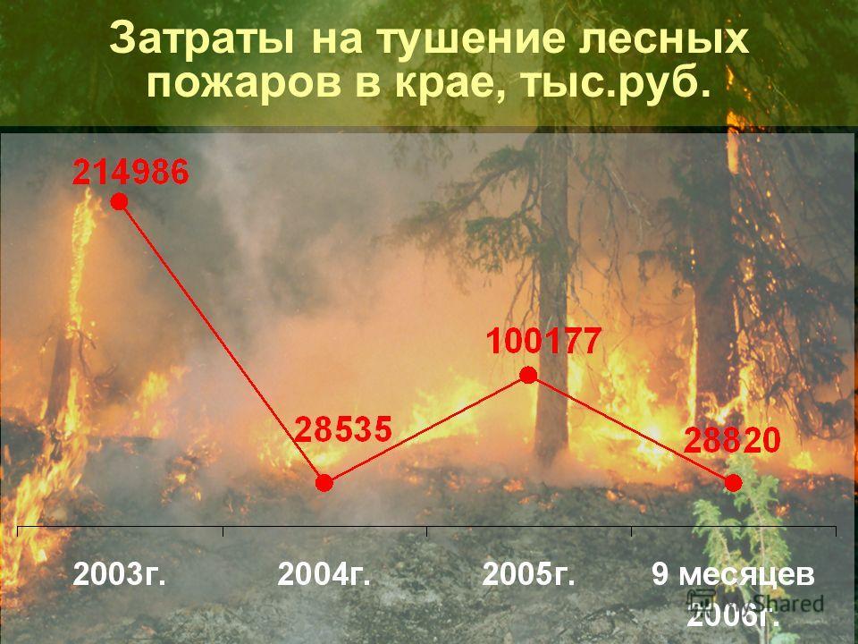 Затраты на тушение лесных пожаров в крае, тыс.руб.
