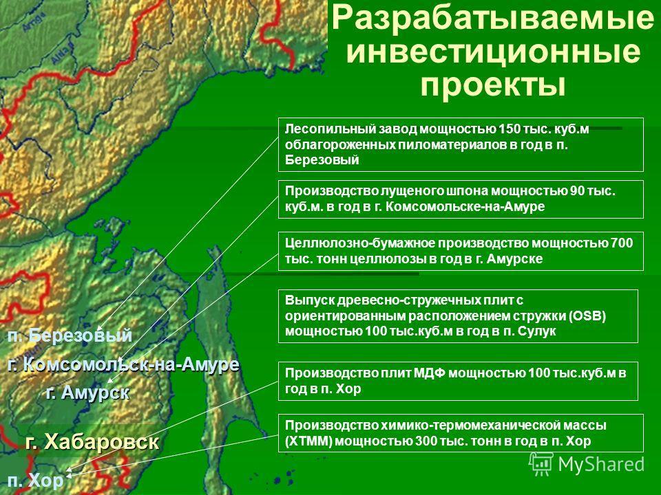 Разрабатываемые инвестиционные проекты г. Хабаровск п. Хор г. Амурск г. Комсомольск-на-Амуре Производство лущеного шпона мощностью 90 тыс. куб.м. в год в г. Комсомольске-на-Амуре Целлюлозно-бумажное производство мощностью 700 тыс. тонн целлюлозы в го