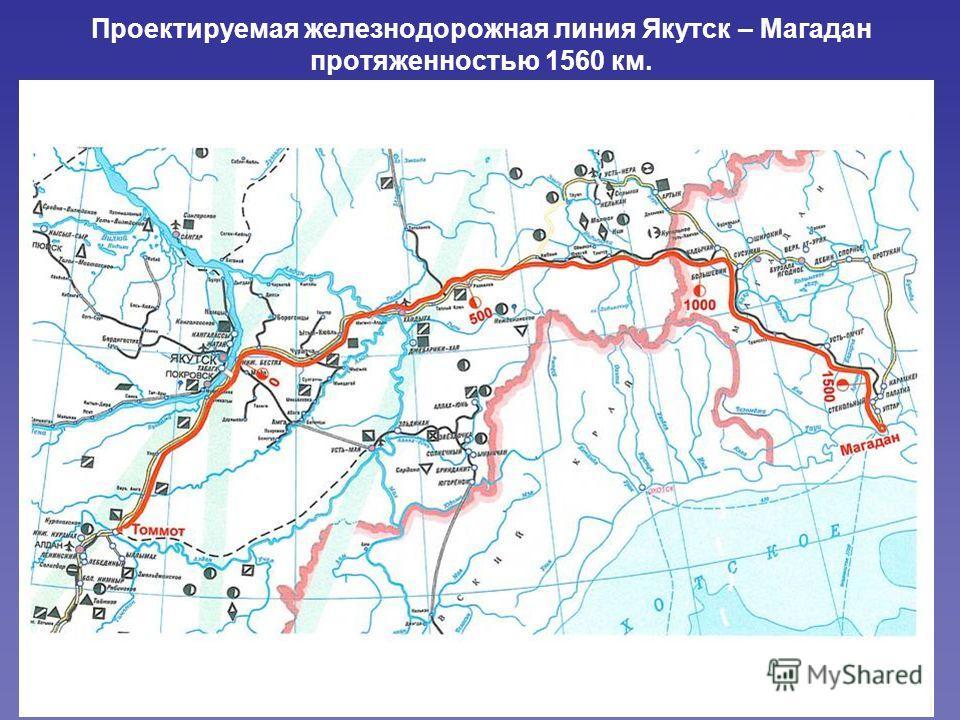 Проектируемая железнодорожная линия Якутск – Магадан протяженностью 1560 км.