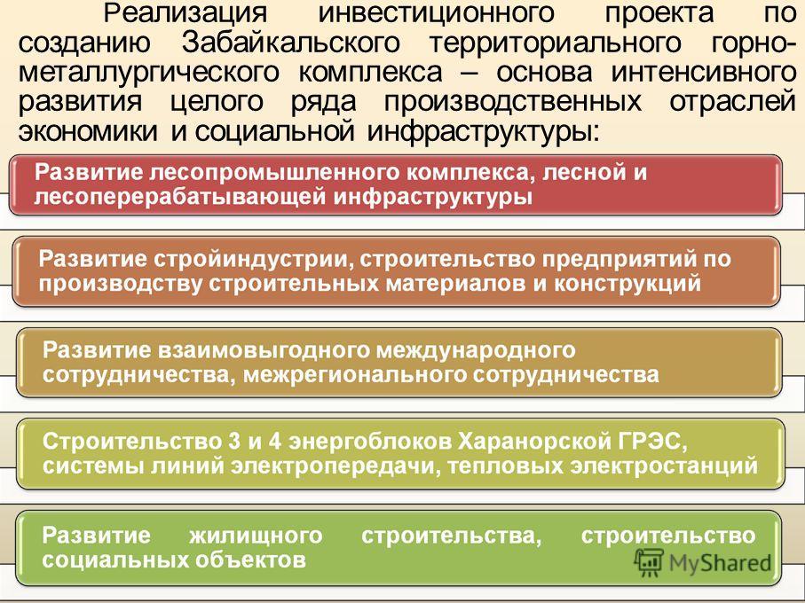Р еализация инвестиционного проекта по созданию Забайкальского территориального горно- металлургического комплекса – основа интенсивного развития целого ряда производственных отраслей экономики и социальной инфраструктуры: