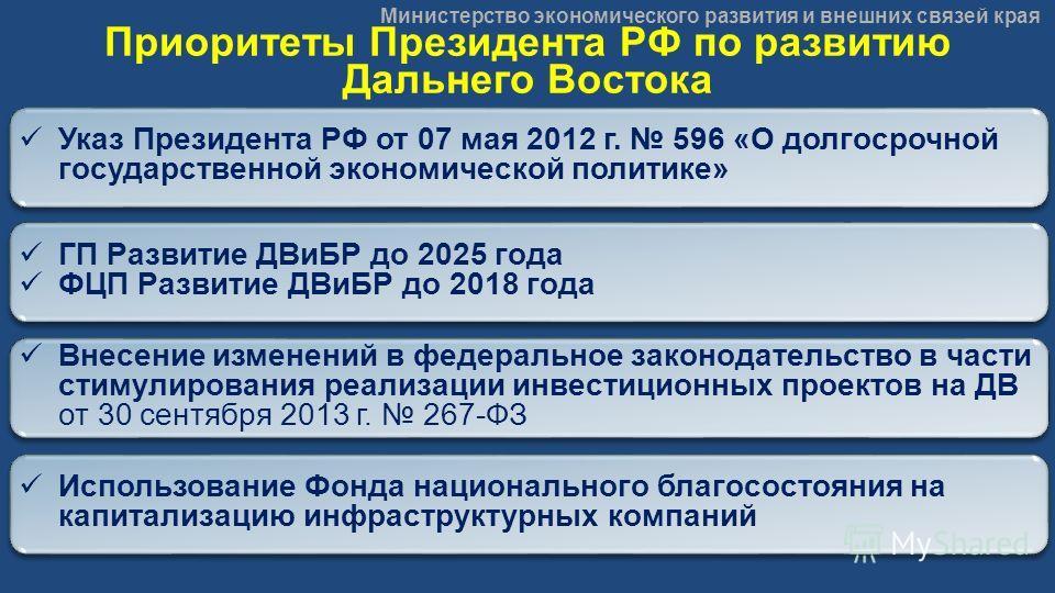 Министерство экономического развития и внешних связей края Приоритеты Президента РФ по развитию Дальнего Востока ГП Развитие ДВиБР до 2025 года ФЦП Развитие ДВиБР до 2018 года ГП Развитие ДВиБР до 2025 года ФЦП Развитие ДВиБР до 2018 года Указ Презид