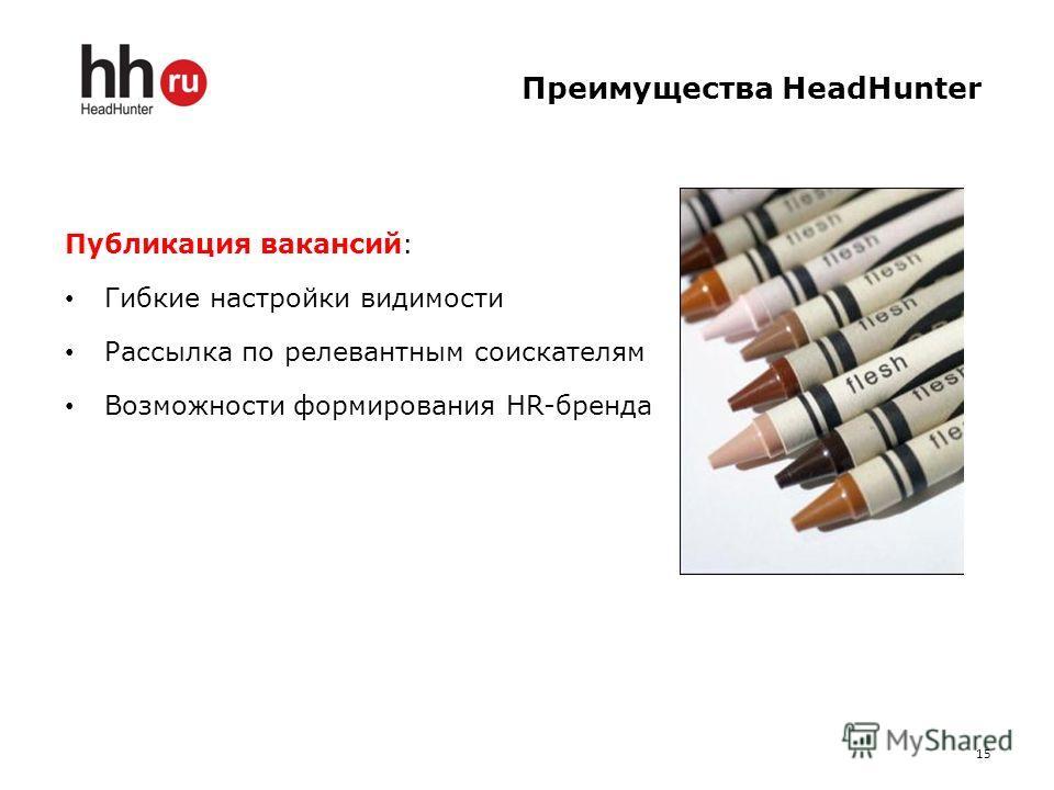 Преимущества HeadHunter Публикация вакансий: Гибкие настройки видимости Рассылка по релевантным соискателям Возможности формирования HR-бренда 15