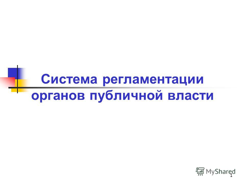 1 Система регламентации органов публичной власти