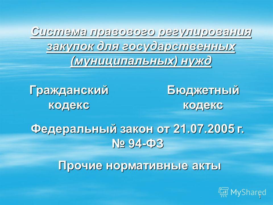 Бюджетный кодекс Федеральный закон от 21.07.2005 г. 94-ФЗ Прочие нормативные акты 1 Система правового регулирования закупок для государственных (муниципальных) нужд Гражданский кодекс