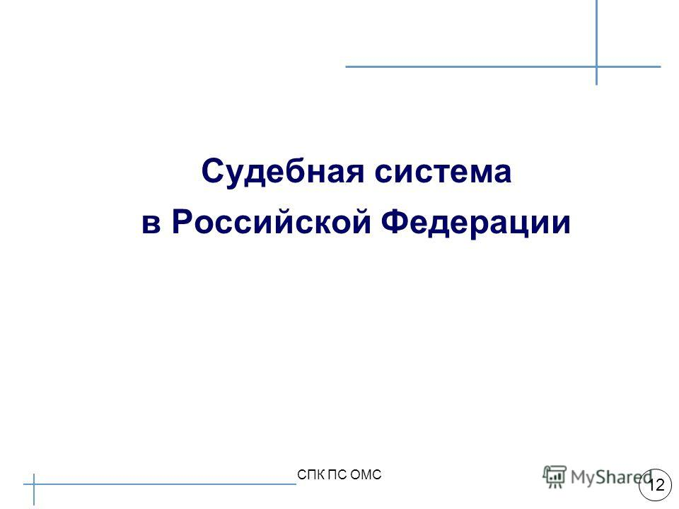 Арбитражная практика 12 СПК ПС ОМС Судебная система в Российской Федерации