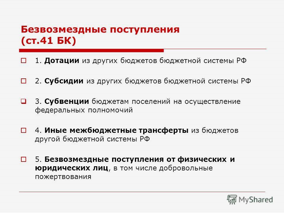 Безвозмездные поступления (ст.41 БК) 1. Дотации из других бюджетов бюджетной системы РФ 2. Субсидии из других бюджетов бюджетной системы РФ 3. Субвенции бюджетам поселений на осуществление федеральных полномочий 4. Иные межбюджетные трансферты из бюд