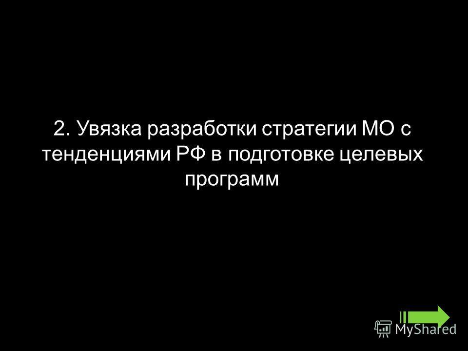2. Увязка разработки стратегии МО с тенденциями РФ в подготовке целевых программ