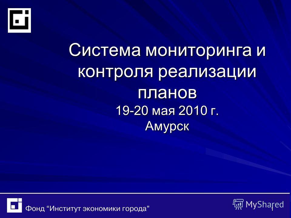 1 Система мониторинга и контроля реализации планов 19-20 мая 2010 г. Амурск Система мониторинга и контроля реализации планов 19-20 мая 2010 г. Амурск