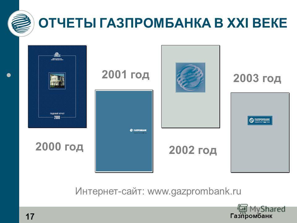 Газпромбанк ОТЧЕТЫ ГАЗПРОМБАНКА В XXI ВЕКЕ 2000 год 2002 год 2003 год 2001 год 17 Интернет-сайт: www.gazprombank.ru