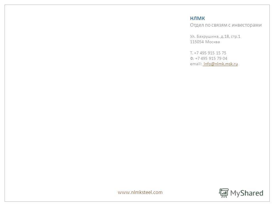 www.nlmksteel.com НЛМК Отдел по связям с инвесторами Ул. Бахрушина, д.18, стр.1 115054 Москва Т. +7 495 915 15 75 Ф. +7 495 915 79 04 email: info@nlmk.msk.ru