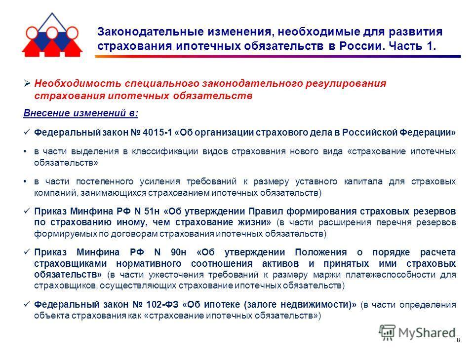 8 Законодательные изменения, необходимые для развития страхования ипотечных обязательств в России. Часть 1. Необходимость специального законодательного регулирования страхования ипотечных обязательств Внесение изменений в: Федеральный закон 4015-1 «О