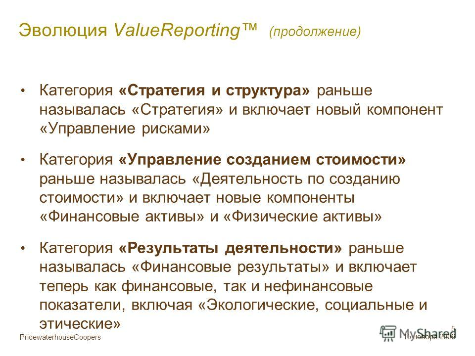 PricewaterhouseCoopers 5 15 ноября 2006 Эволюция ValueReporting (продолжение) Категория «Стратегия и структура» раньше называлась «Стратегия» и включает новый компонент «Управление рисками» Категория «Управление созданием стоимости» раньше называлась