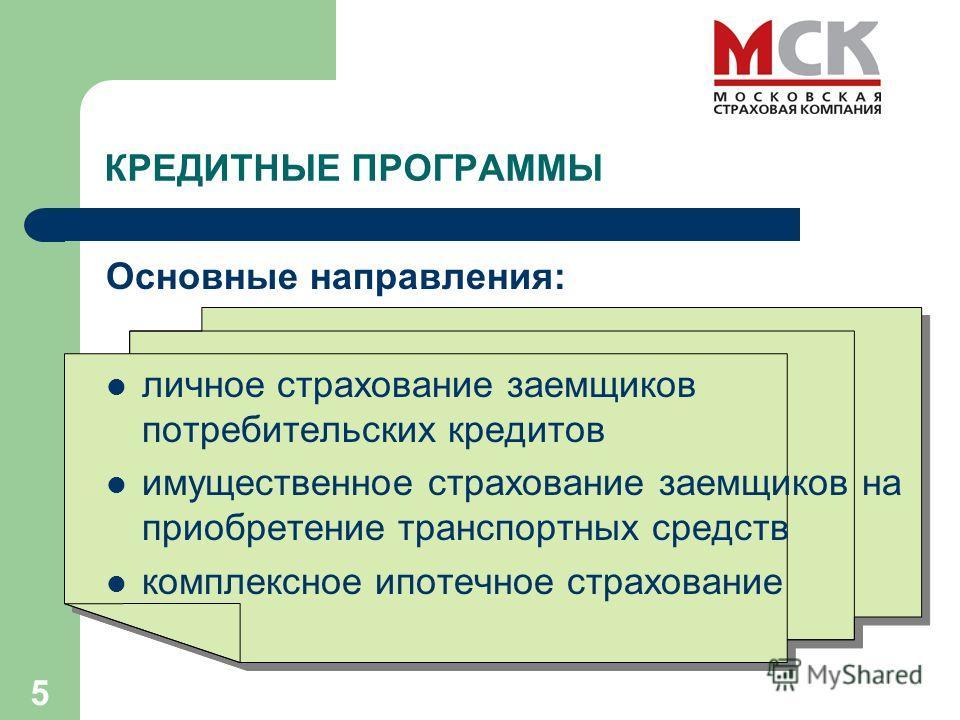 5 Основные направления: личное страхование заемщиков потребительских кредитов имущественное страхование заемщиков на приобретение транспортных средств комплексное ипотечное страхование КРЕДИТНЫЕ ПРОГРАММЫ
