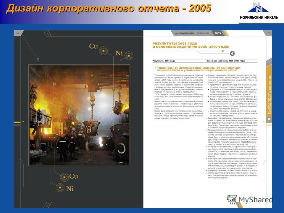Дизайн корпоративного отчета - 2005 Дизайн корпоративного отчета - 2005