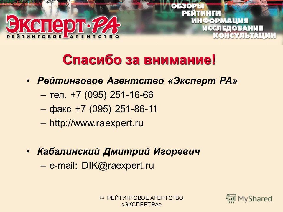 © РЕЙТИНГОВОЕ АГЕНТСТВО «ЭКСПЕРТ РА» Спасибо за внимание! Рейтинговое Агентство «Эксперт РА» –тел. +7 (095) 251-16-66 –факс +7 (095) 251-86-11 –http://www.raexpert.ru Кабалинский Дмитрий Игоревич –e-mail: DIK@raexpert.ru