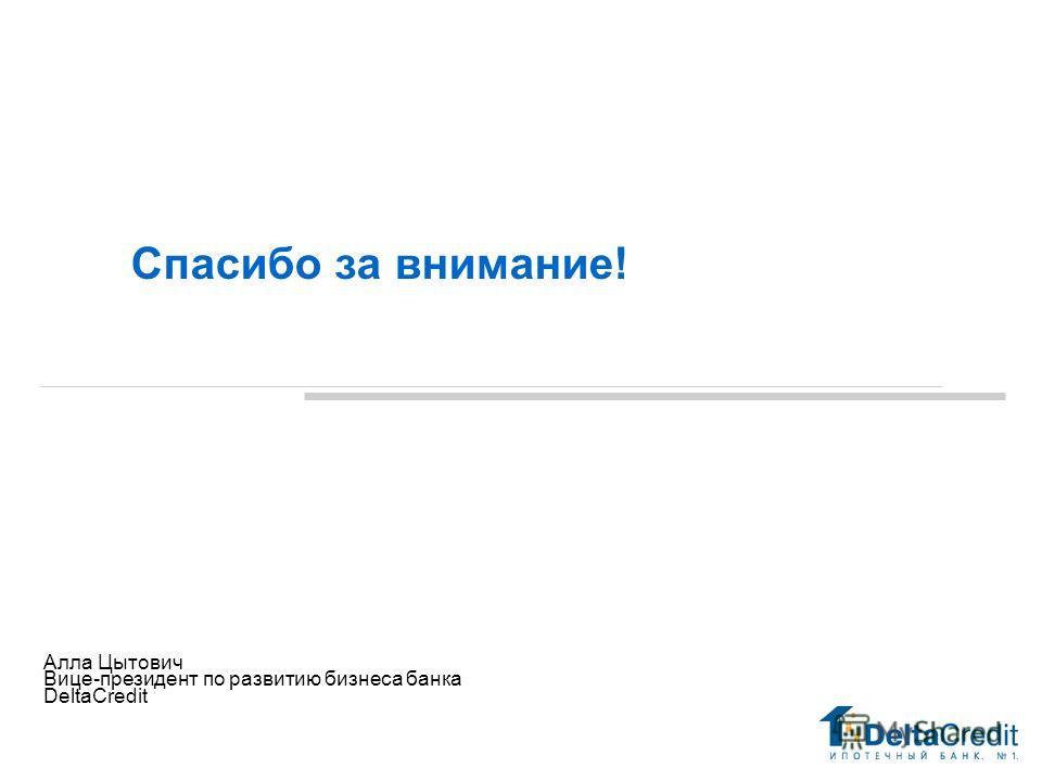 Спасибо за внимание! Май 29 2006 Алла Цытович Вице-президент по развитию бизнеса банка DeltaCredit