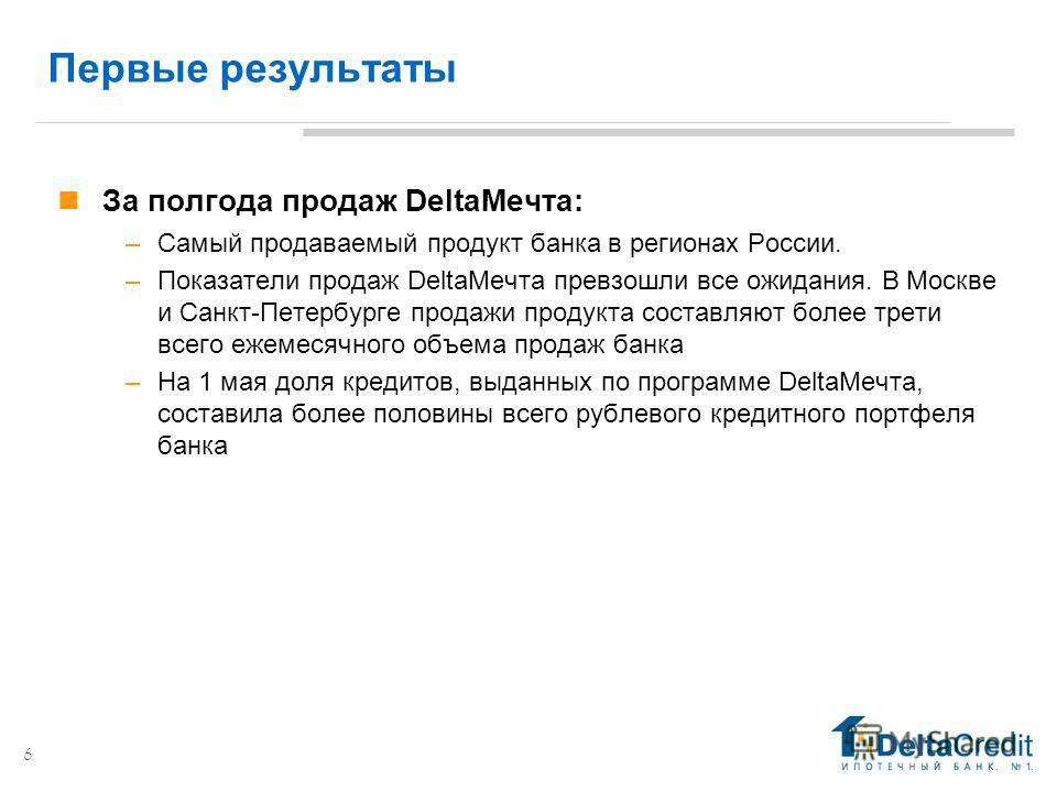 6 Первые результаты За полгода продаж DeltaМечта: –Самый продаваемый продукт банка в регионах России. –Показатели продаж DeltaМечта превзошли все ожидания. В Москве и Санкт-Петербурге продажи продукта составляют более трети всего ежемесячного объема