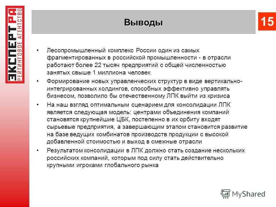 Лесопромышленный комплекс России один из самых фрагментированных в российской промышленности - в отрасли работают более 22 тысяч предприятий с общей численностью занятых свыше 1 миллиона человек Формирование новых управленческих структур в виде верти