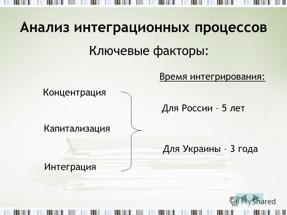 Анализ интеграционных процессов Ключевые факторы: Концентрация Капитализация Интеграция Время интегрирования: Для России – 5 лет Для Украины – 3 года