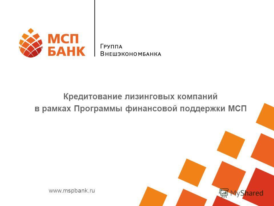 www.mspbank.ru Кредитование лизинговых компаний в рамках Программы финансовой поддержки МСП