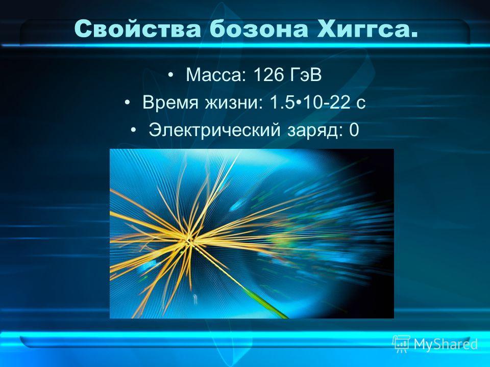Свойства бозона Хиггса. Масса: 126 ГэВ Время жизни: 1.510-22 с Электрический заряд: 0