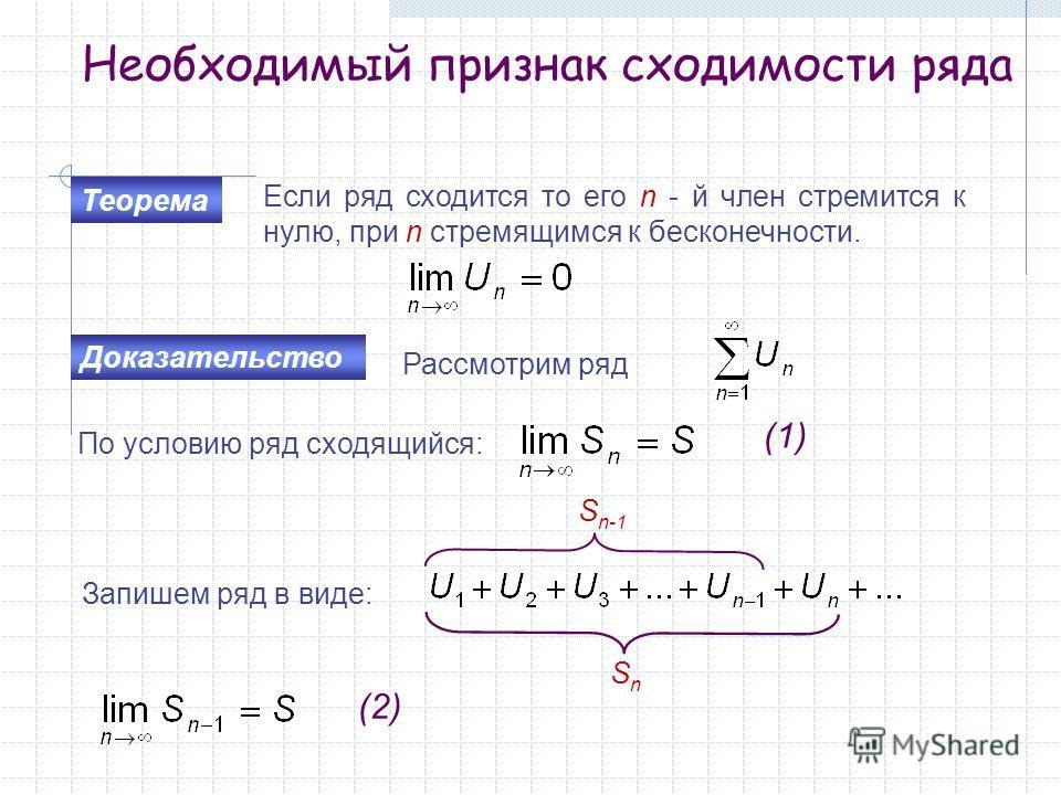 Необходимый признак сходимости ряда Теорема Если ряд сходится то его n - й член стремится к нулю, при n стремящимся к бесконечности. Доказательство Рассмотрим ряд По условию ряд сходящийся: (1) Запишем ряд в виде: S n-1 SnSn (2)