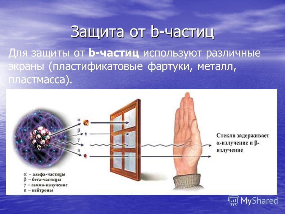 Защита от b-частиц Для защиты от b-частиц используют различные экраны (пластификатовые фартуки, металл, пластмасса).