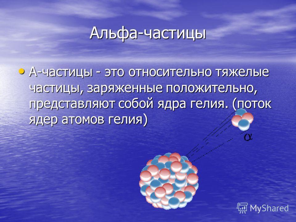 Альфа-частицы A-частицы - это относительно тяжелые частицы, заряженные положительно, представляют собой ядра гелия. (поток ядер атомов гелия) A-частицы - это относительно тяжелые частицы, заряженные положительно, представляют собой ядра гелия. (поток