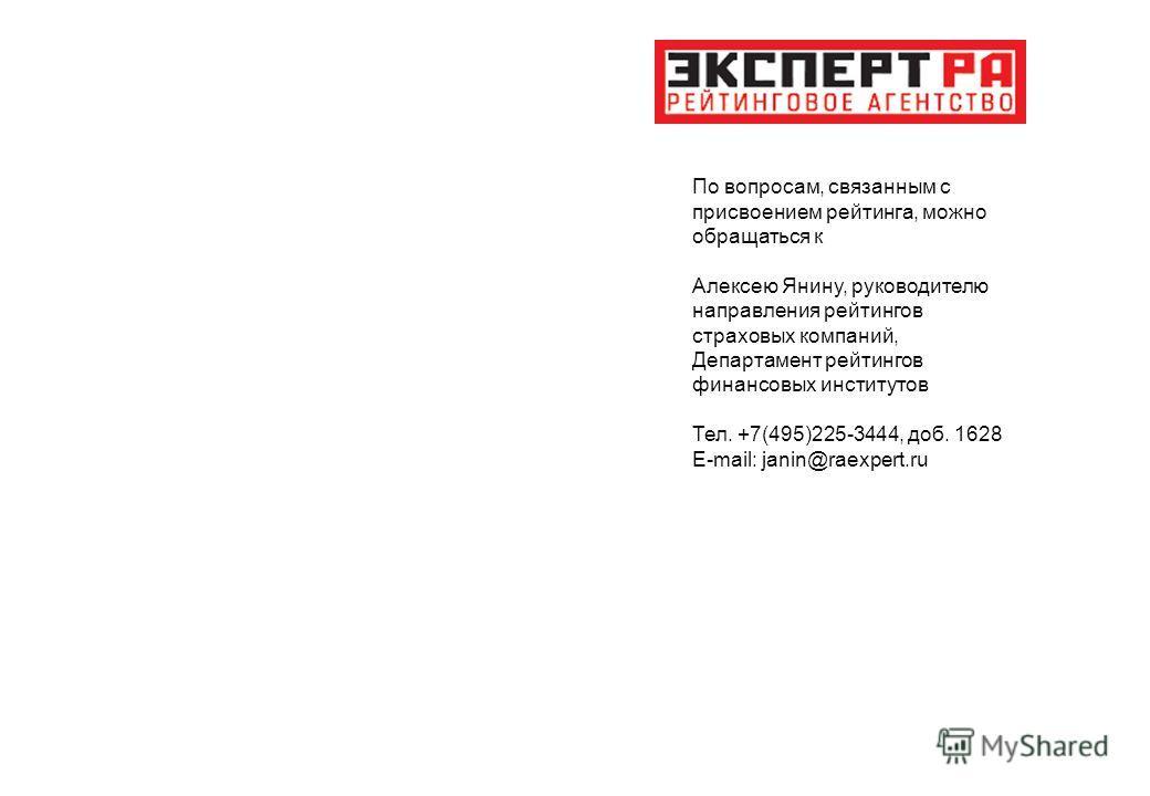 По вопросам, связанным с присвоением рейтинга, можно обращаться к Алексею Янину, руководителю направления рейтингов страховых компаний, Департамент рейтингов финансовых институтов Тел. +7(495)225-3444, доб. 1628 E-mail: janin@raexpert.ru