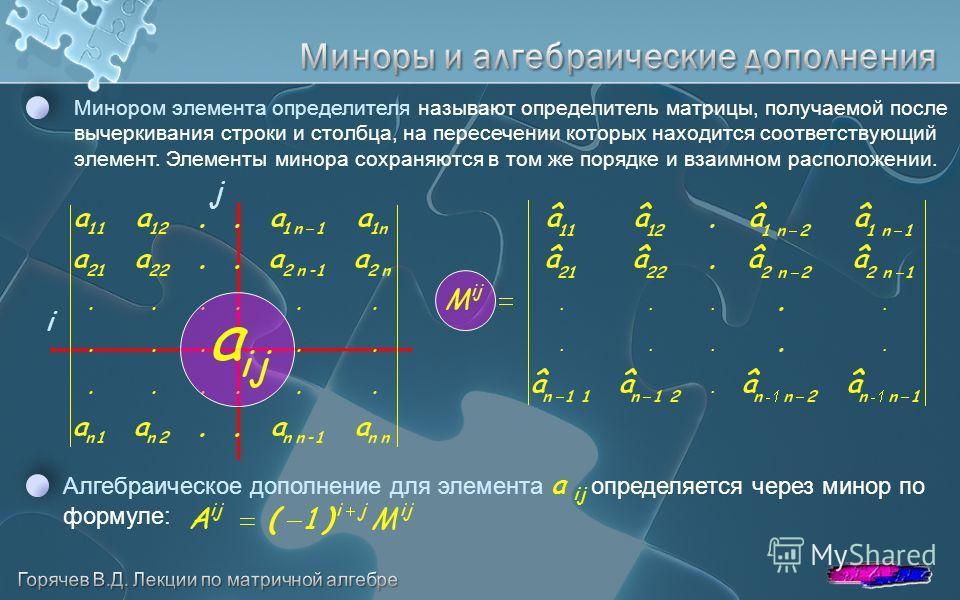 Минором элемента определителя называют определитель матрицы, получаемой после вычеркивания строки и столбца, на пересечении которых находится соответствующий элемент. Элементы минора сохраняются в том же порядке и взаимном расположении. i j Алгебраич
