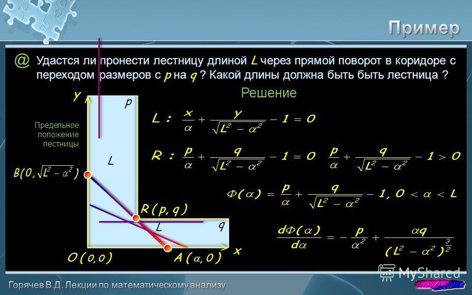 @ Удастся ли пронести лестницу длиной L через прямой поворот в коридоре с переходом размеров с p на q ? Какой длины должна быть быть лестница ? p q L L R ( p, q ) A (, 0 )O ( 0, 0 ) Решение Предельное положение лестницы y x