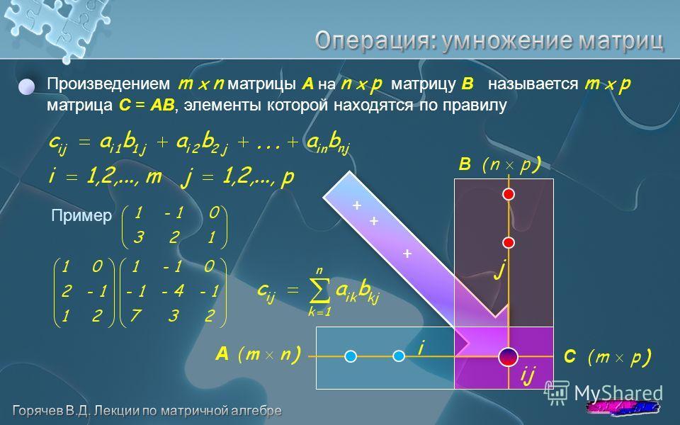 Произведением m x n матрицы A на n x p матрицу B называется m x p матрица C = AB, элементы которой находятся по правилу + + + Пример