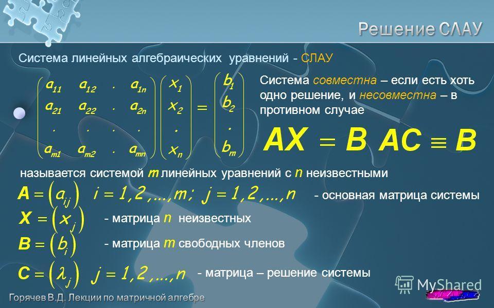Система линейных алгебраических уравнений - СЛАУ - основная матрица системы называется системой m линейных уравнений с n неизвестными - матрица n неизвестных - матрица m свободных членов - матрица – решение системы Система совместна – если есть хоть