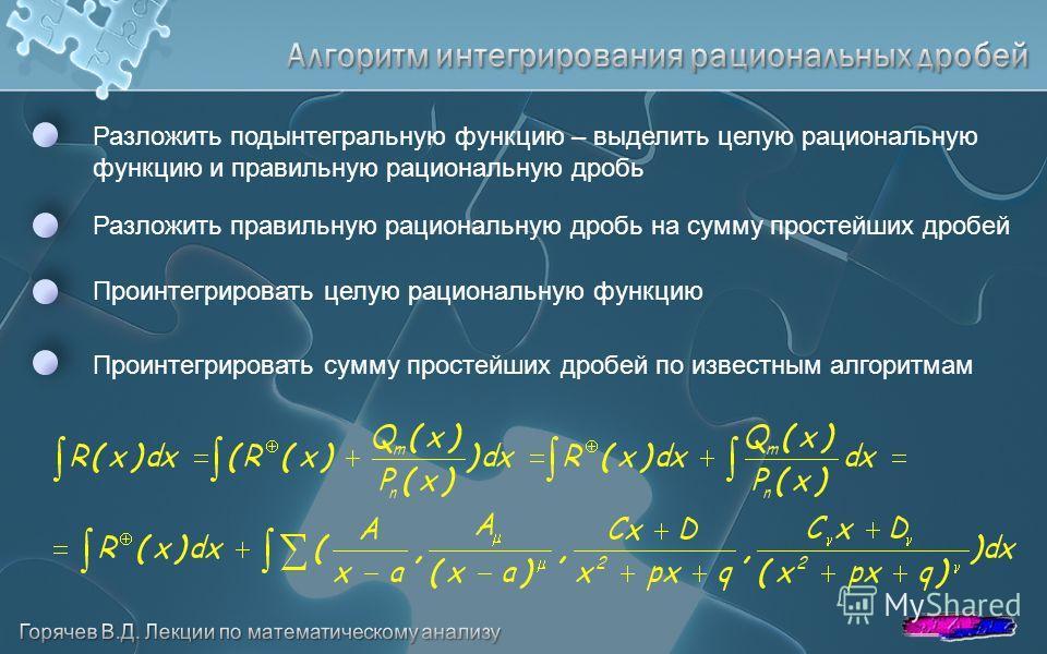 Разложить подынтегральную функцию – выделить целую рациональную функцию и правильную рациональную дробь Проинтегрировать сумму простейших дробей по известным алгоритмам Разложить правильную рациональную дробь на сумму простейших дробей Проинтегрирова