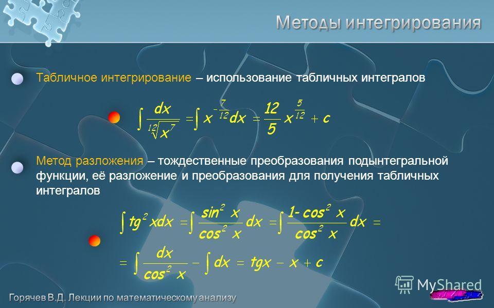Табличное интегрирование – использование табличных интегралов Метод разложения – тождественные преобразования подынтегральной функции, её разложение и преобразования для получения табличных интегралов