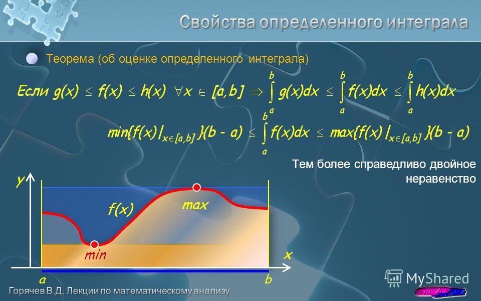 Теорема (об оценке определенного интеграла) Тем более справедливо двойное неравенство y x ab f(x) max min
