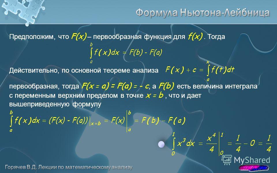 Предположим, что F(x) – первообразная функция для f(x). Тогда Действительно, по основной теореме анализа первообразная, тогда F(x = a) = F(a) = - с, а F(b) есть величина интеграла с переменным верхним пределом в точке x = b, что и дает вышеприведенну