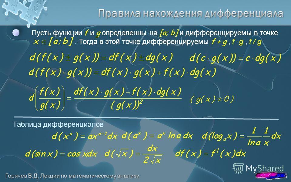 Пусть функции f и g определенны на [a; b] и дифференцируемы в точке. Тогда в этой точке дифференцируемы f + g, f. g, f / g Таблица дифференциалов