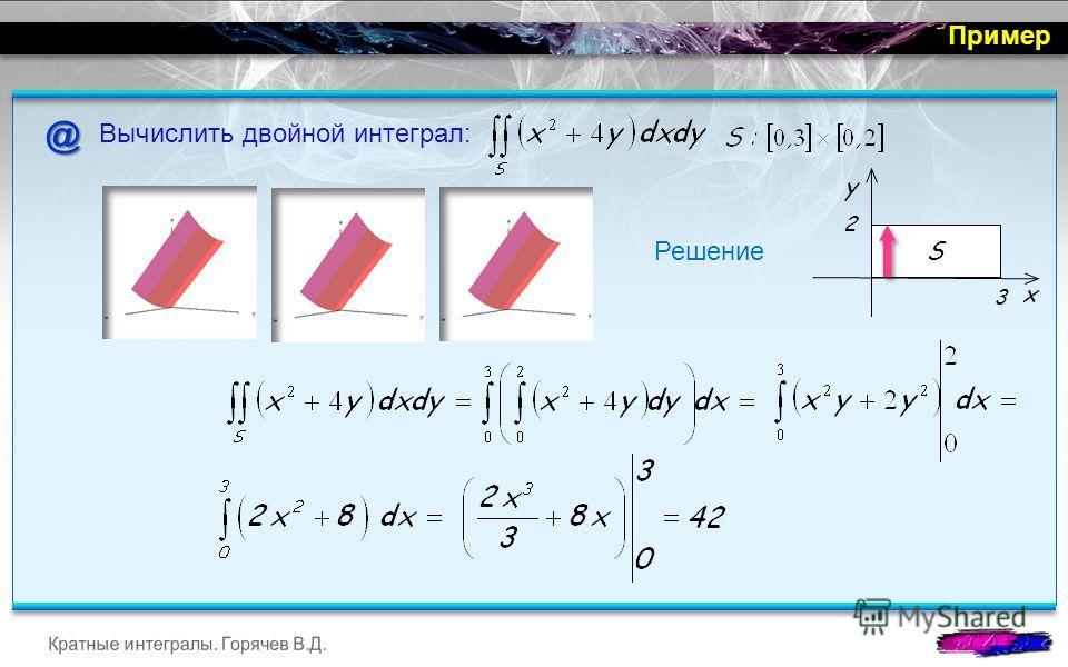 @ Вычислить двойной интеграл: Решение Пример y x 2 3 S
